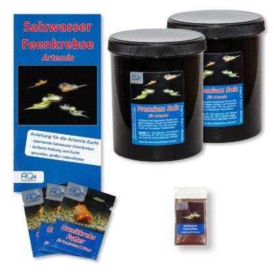 Artemia franciscana-Zucht Set (groß) – mehr als 1.000.000 Eier – mit 2 kg Premiumsalz, 3 x Urzeitkrebse Futter und Anleitung