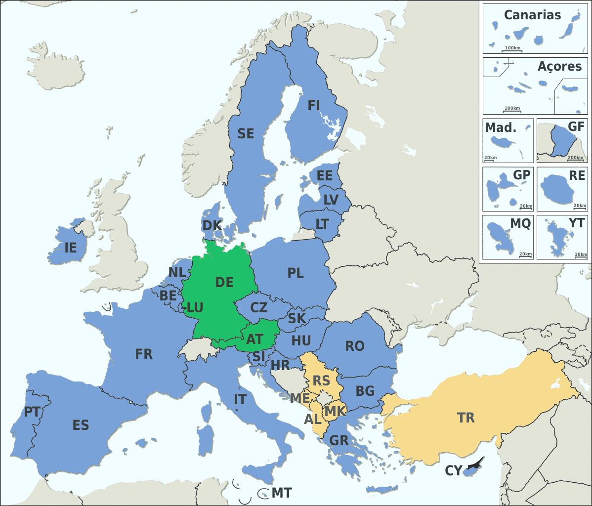 EU Mitgliedsstaaten und -kandidaten